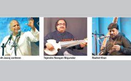 Pandit Jasraj, Tejendra Narayan Majumdar and Rashid Khan tonight's attraction